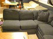 3 pc U-shaped Navy Blue Sectional Couch